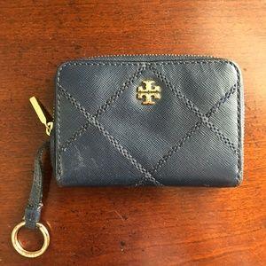 Navy Tory Burch Zip Wallet Keychain